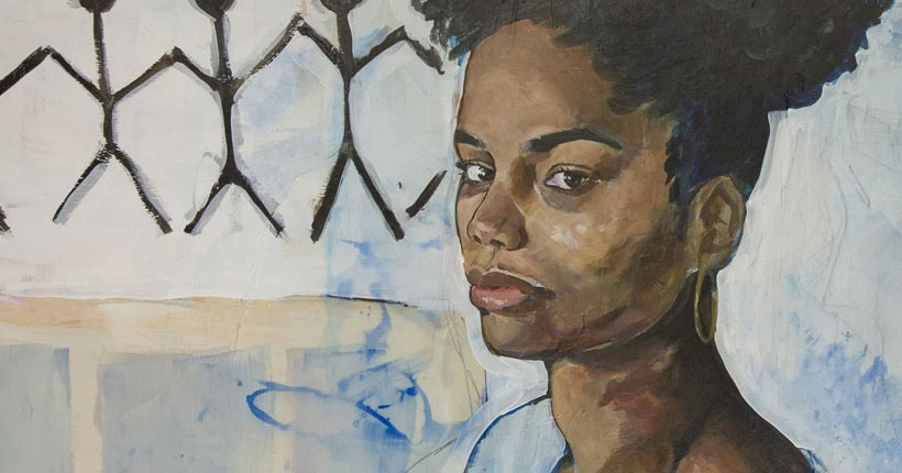 Painting of a woman with an afro and a blue top