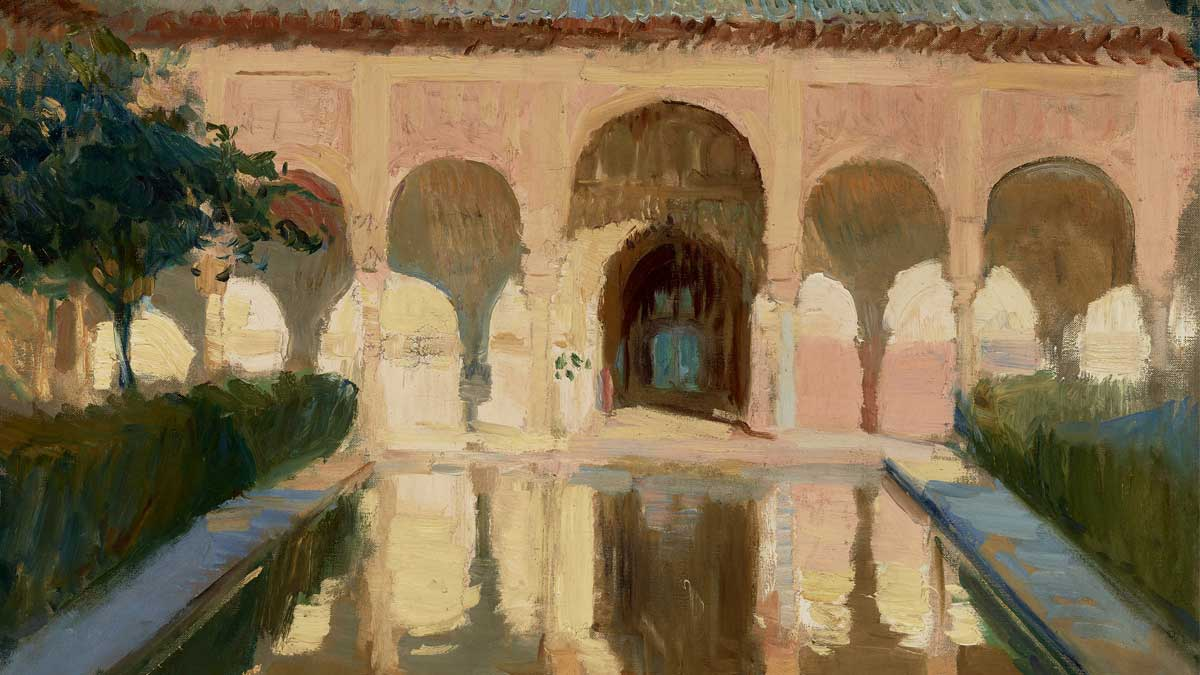 Painting of a building in Spain with Islamic architectural influences