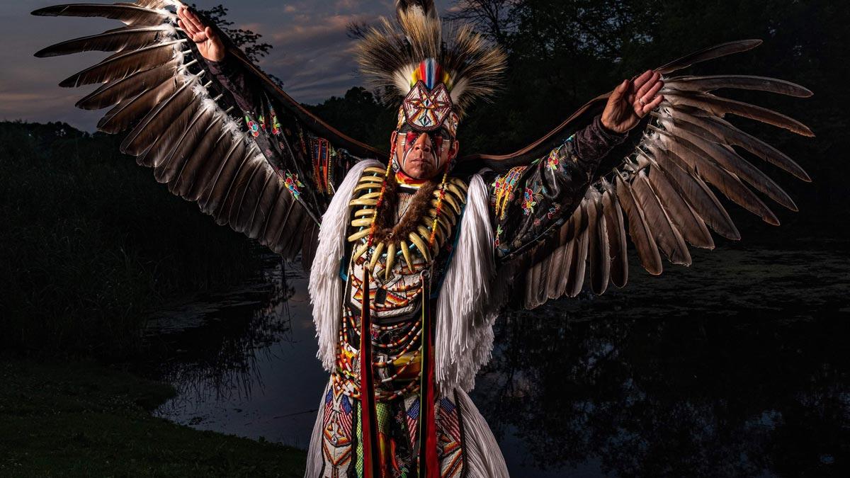 Portrait of Native American artist Ronnie Preston of the San Carlos Apache Nation