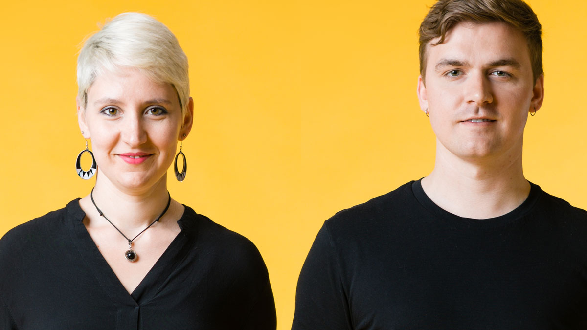 Close-up image of musicians Sara and Kenny