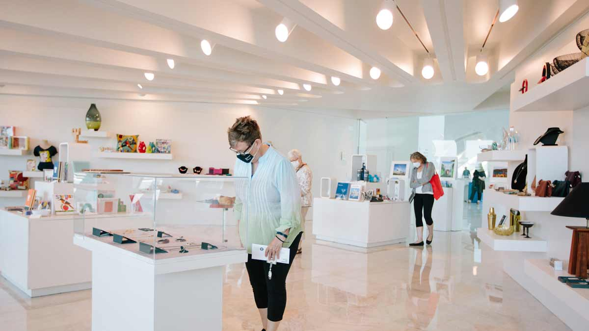 Photo of customer shopping in the Museum Store
