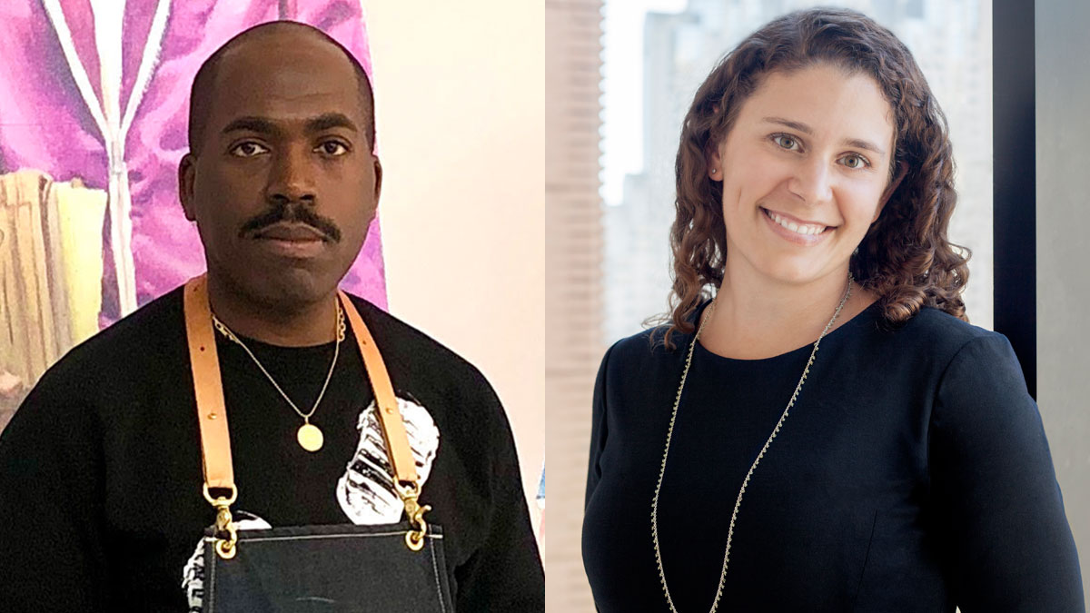 Side by side headshots of artist Derrick Adams and curator Lisa Sutcliffe