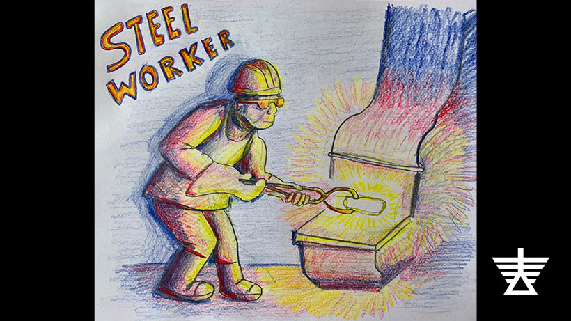 Colored pencil drawing of a steel working at a forge