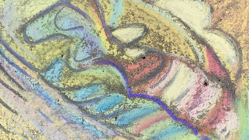Abstract pastel-colored sidewalk chalk drawing