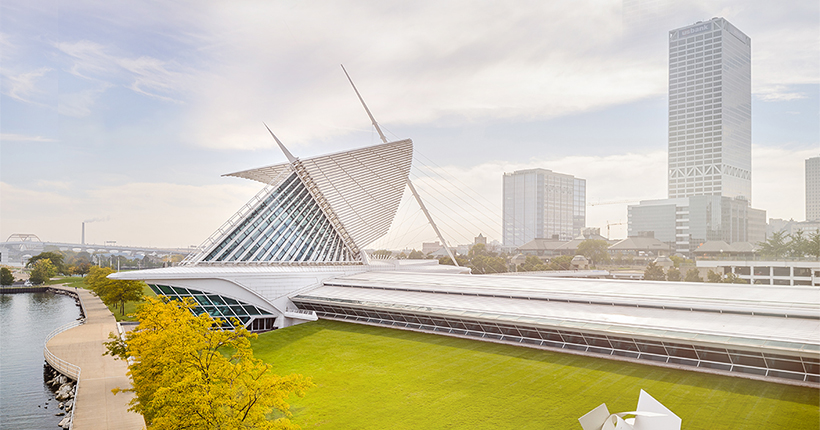External view of the Quadracci Pavilion at the Milwaukee Art Museum