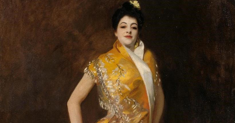 Portrait painting of a woman standing wearing a yellow dress