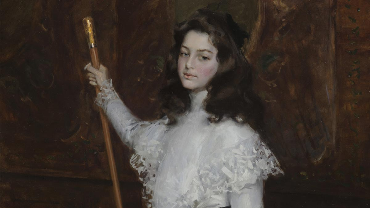Painting of a girl wearing a white dress and holding a cane