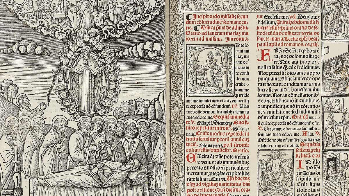 Pages from a 16th century book with a large picture of a group of men surrounding someone who has died or is sick.