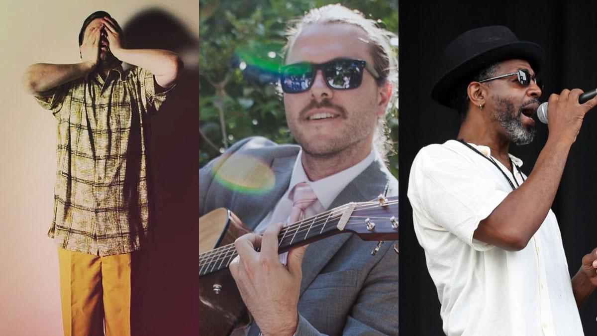 Close-up photos of musicians Robert John Weiss, D'Amato and Gervis Myles