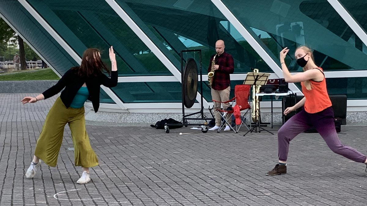 Wild Space dancers performing outside the Milwaukee Art Museum