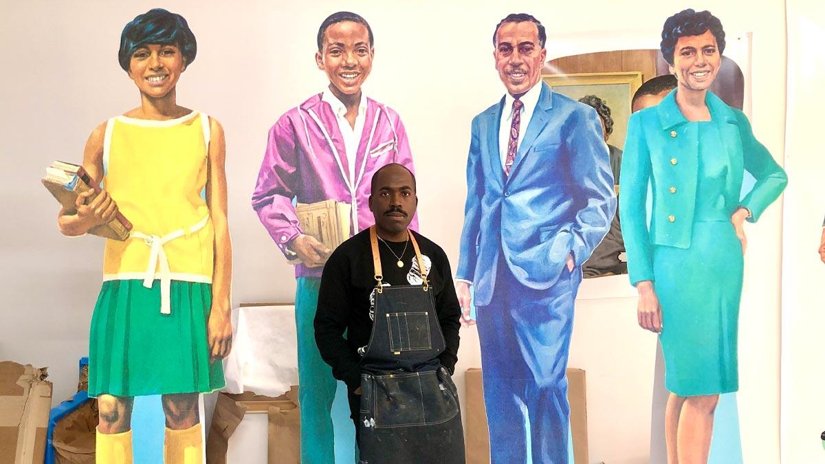 Artist Derrick Adams in his Brooklyn studio