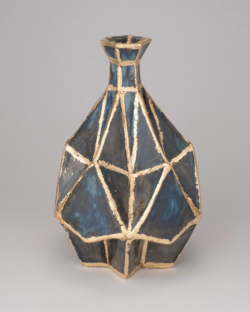 Blue and gold diamond-patterned, teardrop-shaped vase