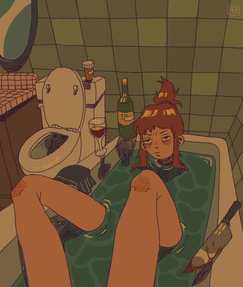 Fully-clothed young woman in a full bathtub with a glass of wine, pill bottle, and a bloody knife