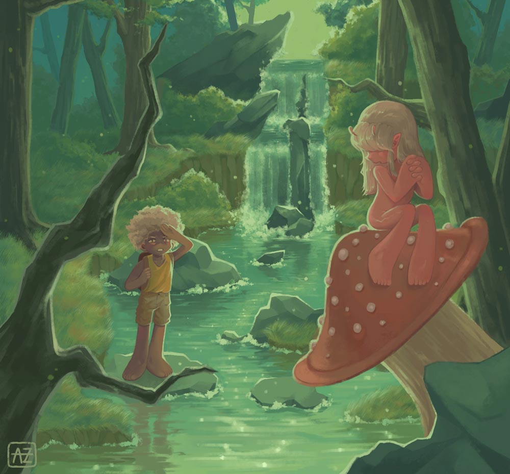 Small child in a forest standing on a rock and looking at a small fairy-like child on a mushroom