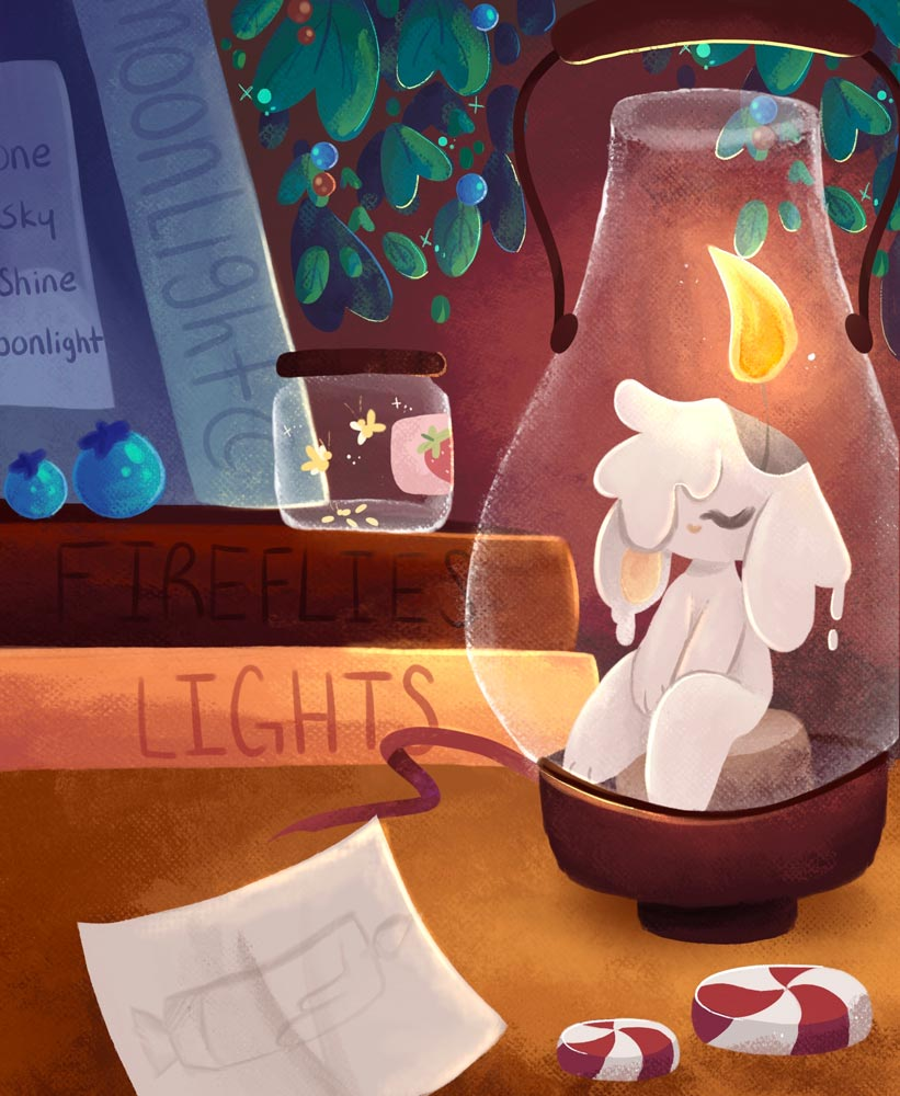 Bunny melting inside a lantern next to a pile of books and a jar of fireflies