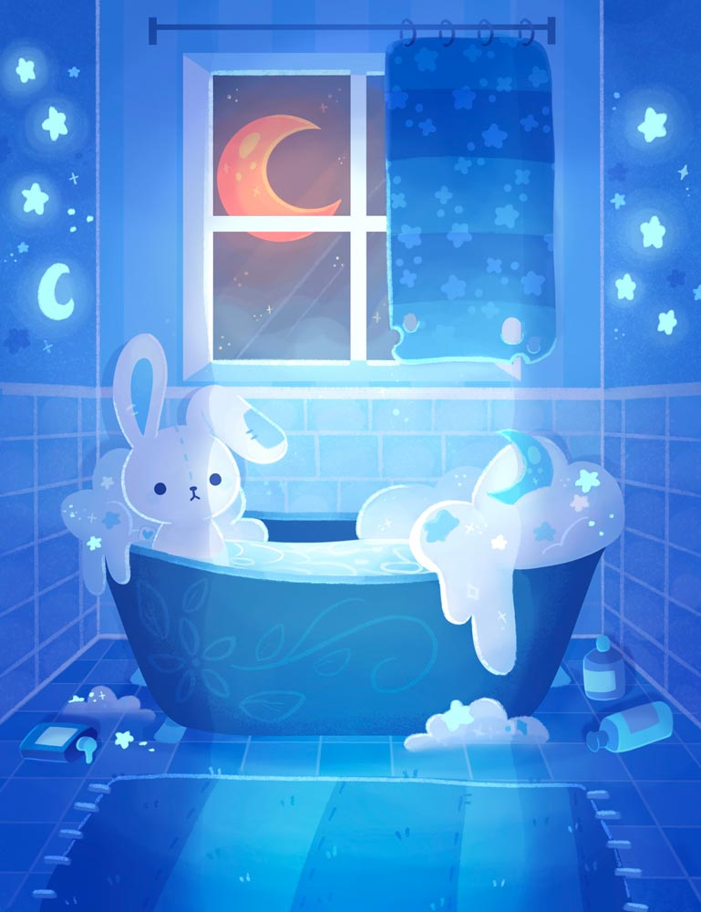 Bunny taking a bubblebath with the moon glowing blue through the window
