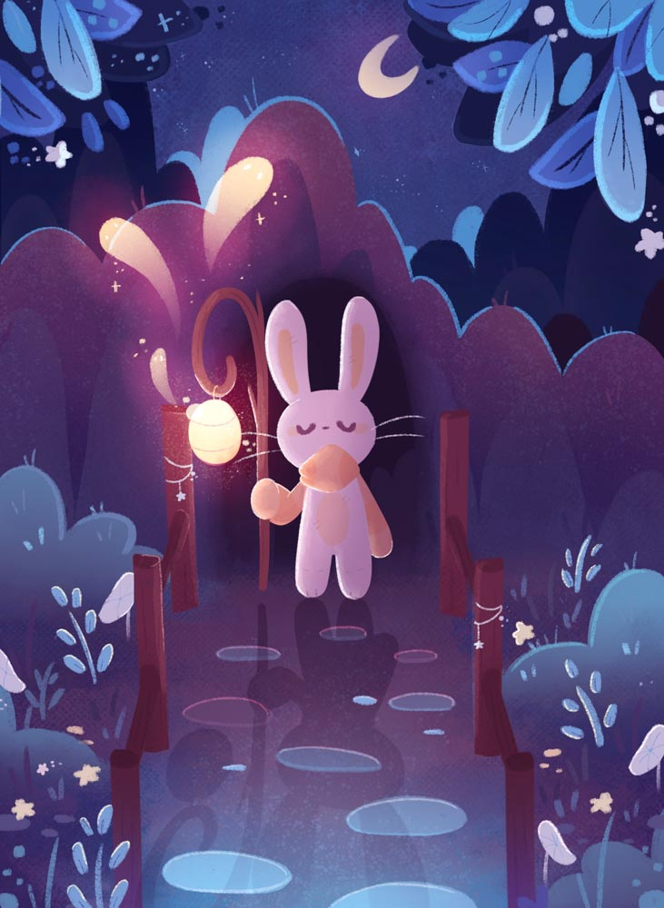 Bunny walking down a pebbled walkway lined with bushes and flowers in the moonlight and holding a staff-like lantern
