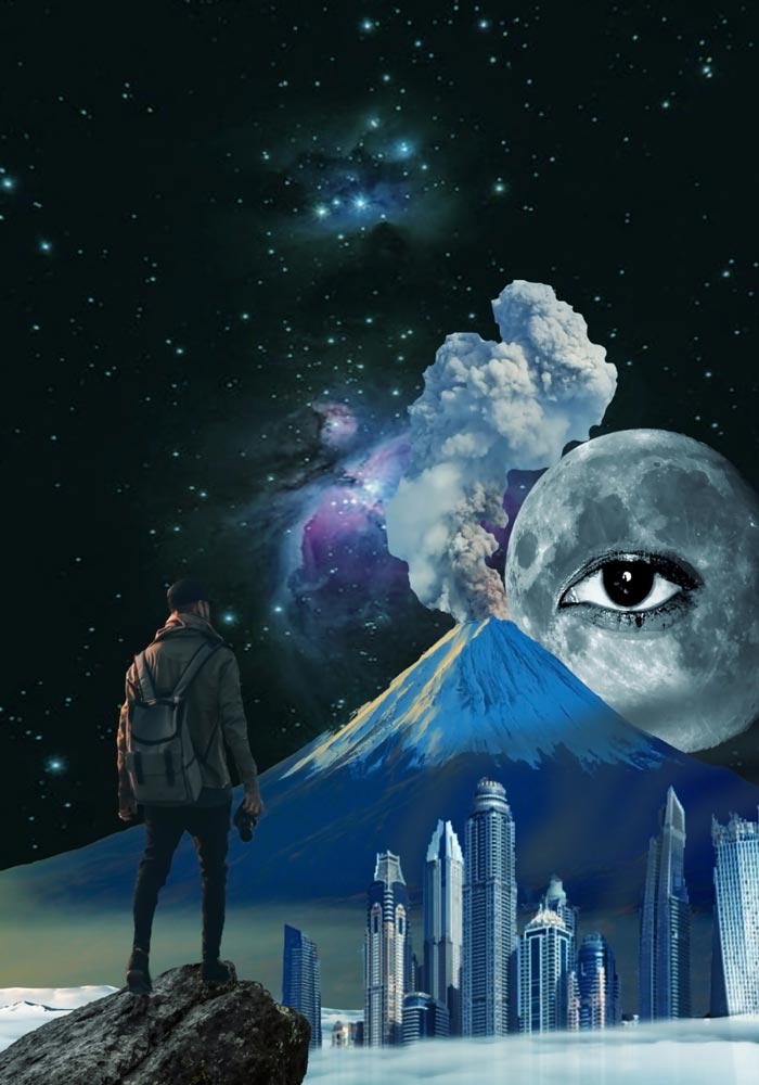 Guy with a backpack standing on a rock looking at a city skyline with a volcano behind it and the moon with an eye in the middle looking back