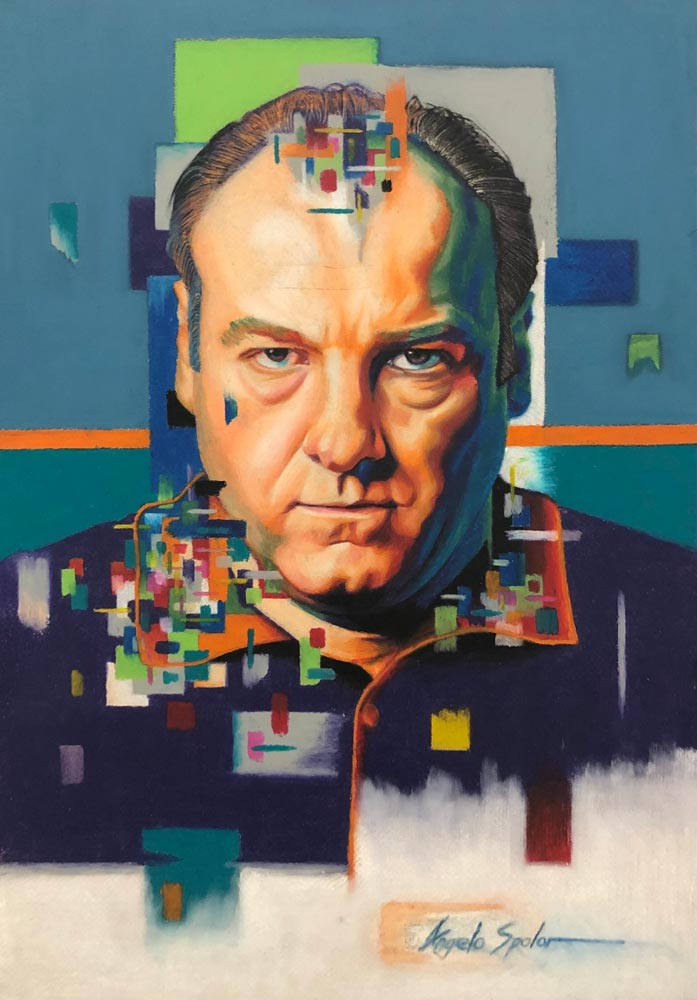 Bright-colored illustration of a man with a serious expression; image is of TV character Tony Soprano