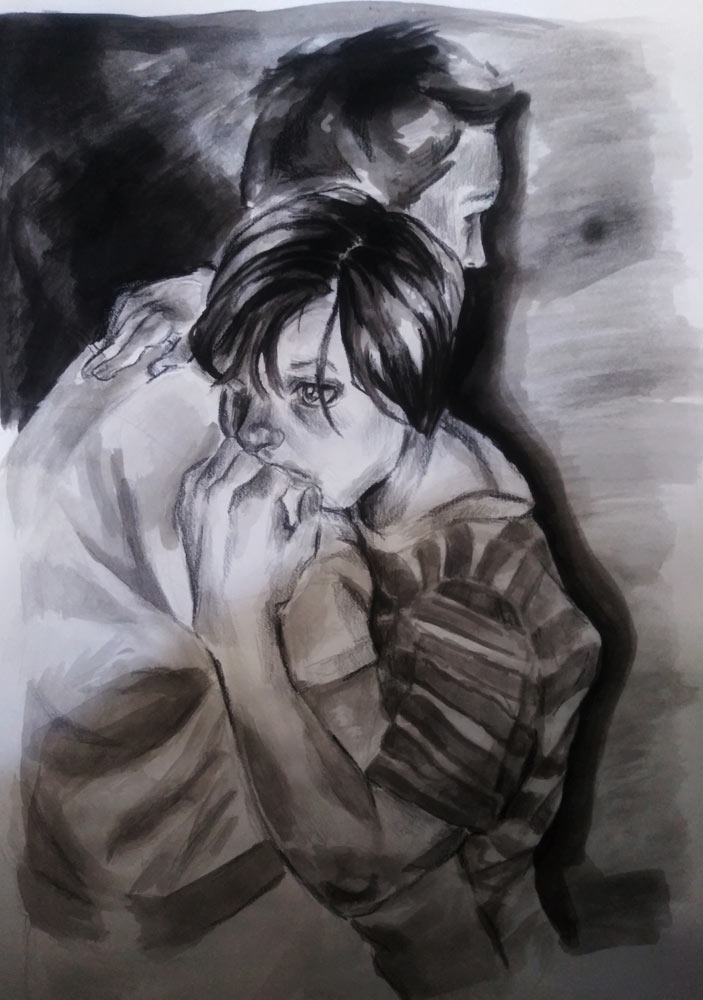 Black and white sketch of a father hugging his sad child