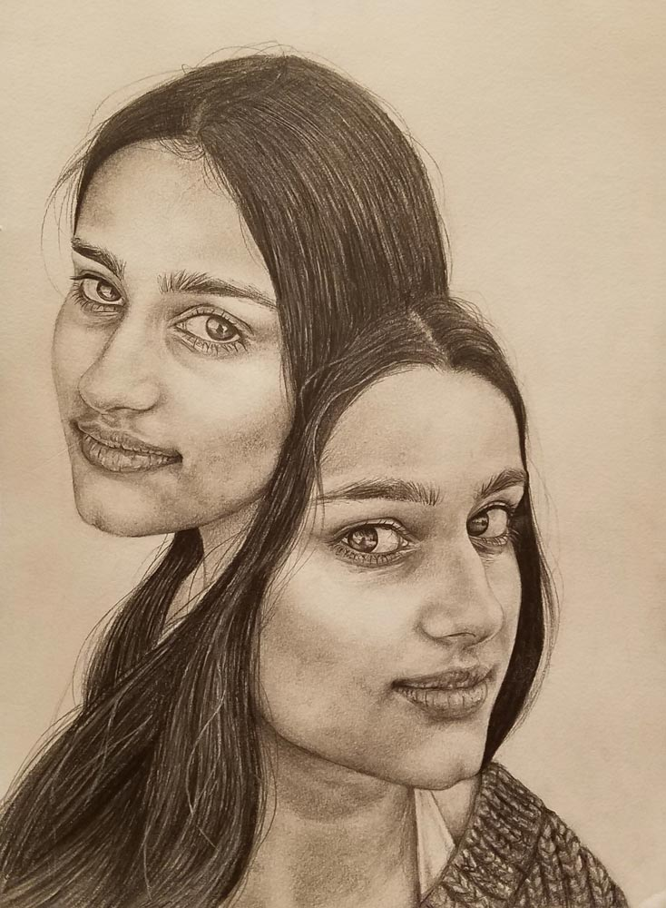 Two portraits of a young woman connected together