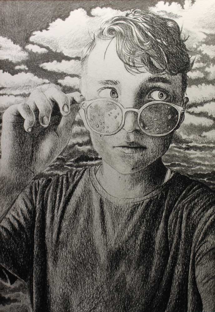 Young adult looking to one side and holding glasses with drops of water on them just below their eyes with a cloudy backdrop