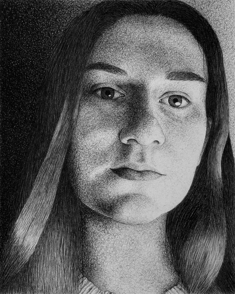 Black and white sketch of a young woman with long hair