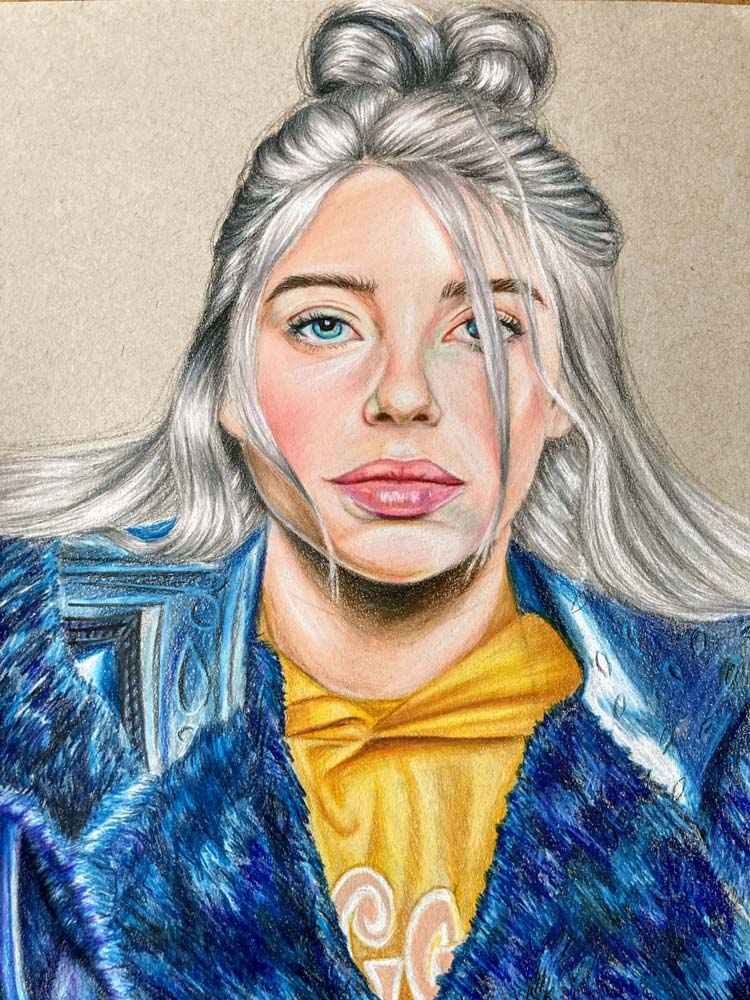 Color sketch of a woman in a blue and yellow top; woman is singer Billie Eilish