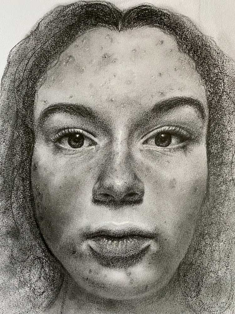 Up-close sketch of a woman's face