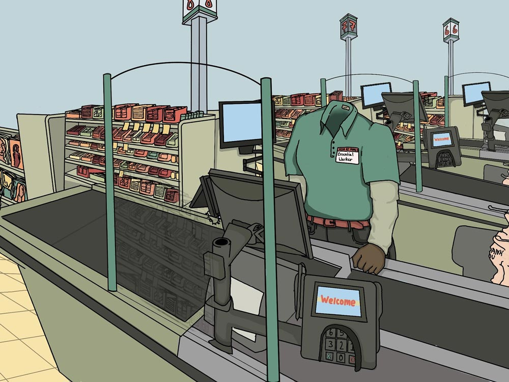 Image of a cashier inside a store but with no body, just the uniform shell with a name tag that says essential worker