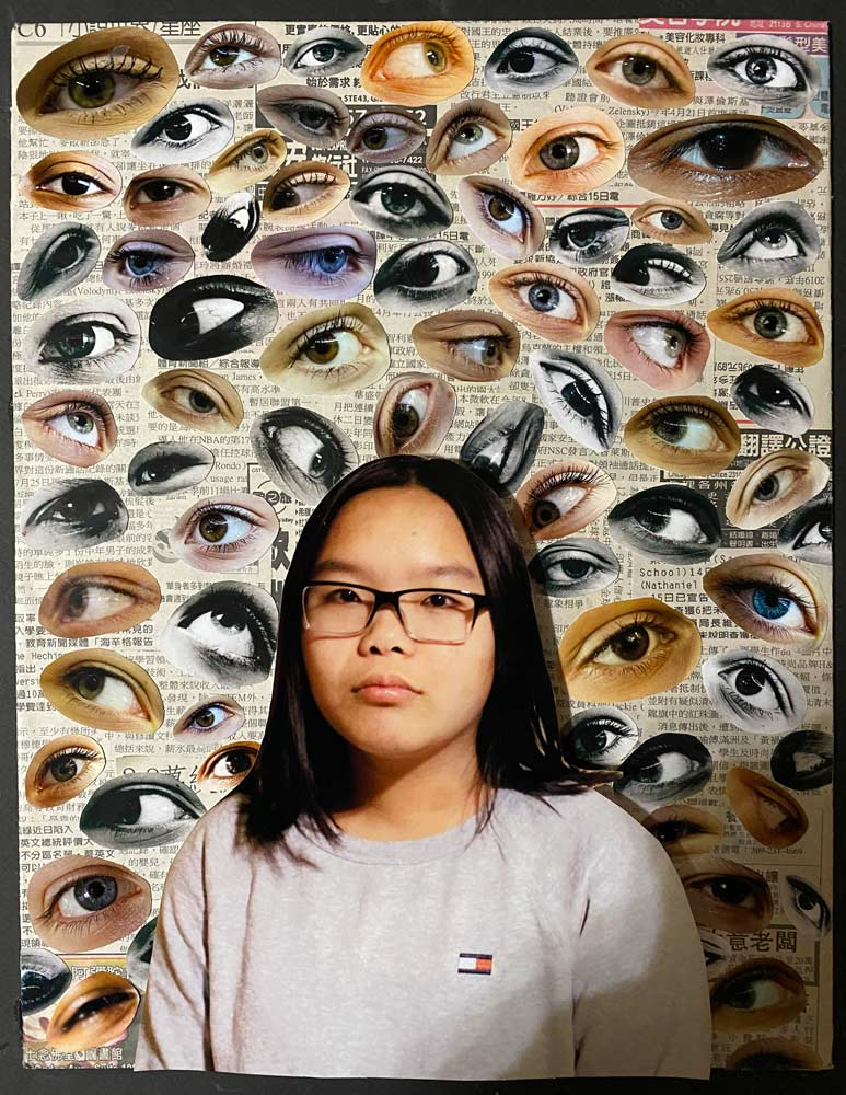 Young girl with Asian-language type in the background with various cut-outs of different eyes