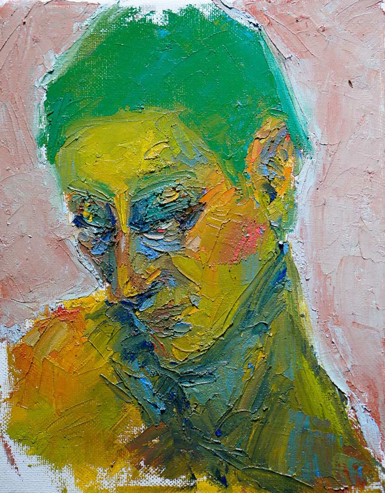 Abstract painting of a person with thick acrylic paint