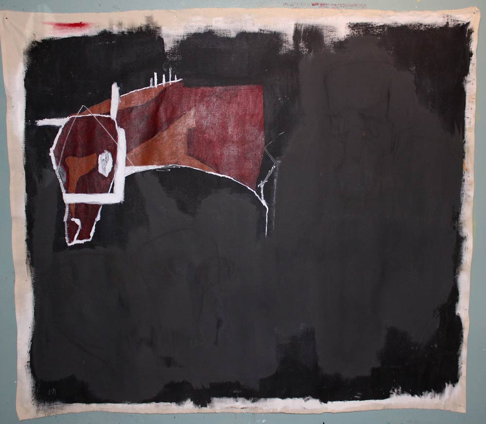 Black background with the head of a horse in abstract shapes poking out in the top left corner