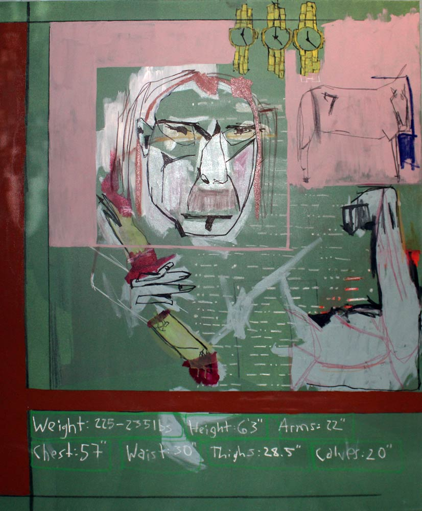 Abstract sketched piece with a woman's face, three gold watches, a horse, and various stats on a green chalkboard