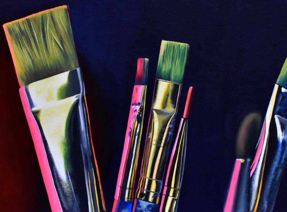 Tips of various paint brushes