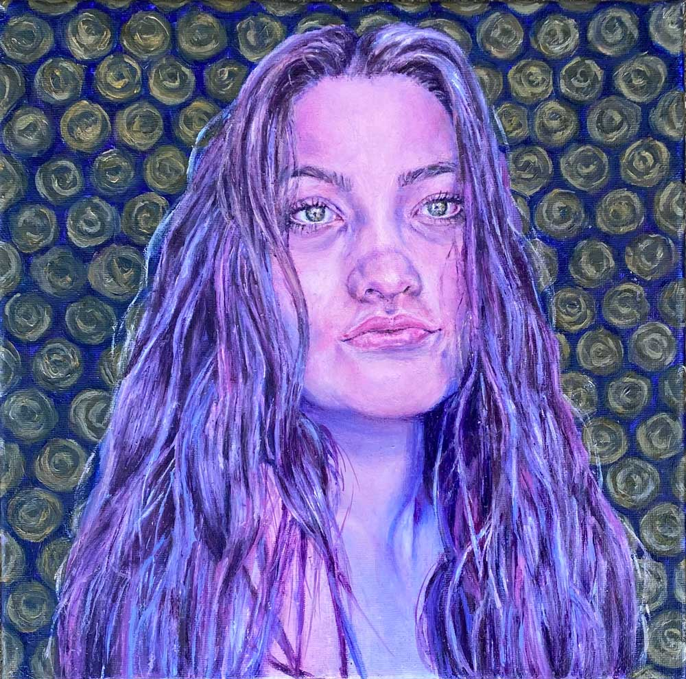 Teen girl with long hair and circles with swirls in them tiled in the background