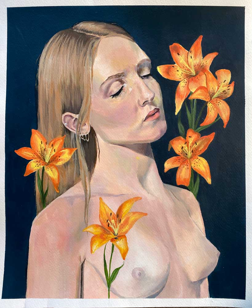 Topless woman with her eyes closed surrounded by yellow flowers