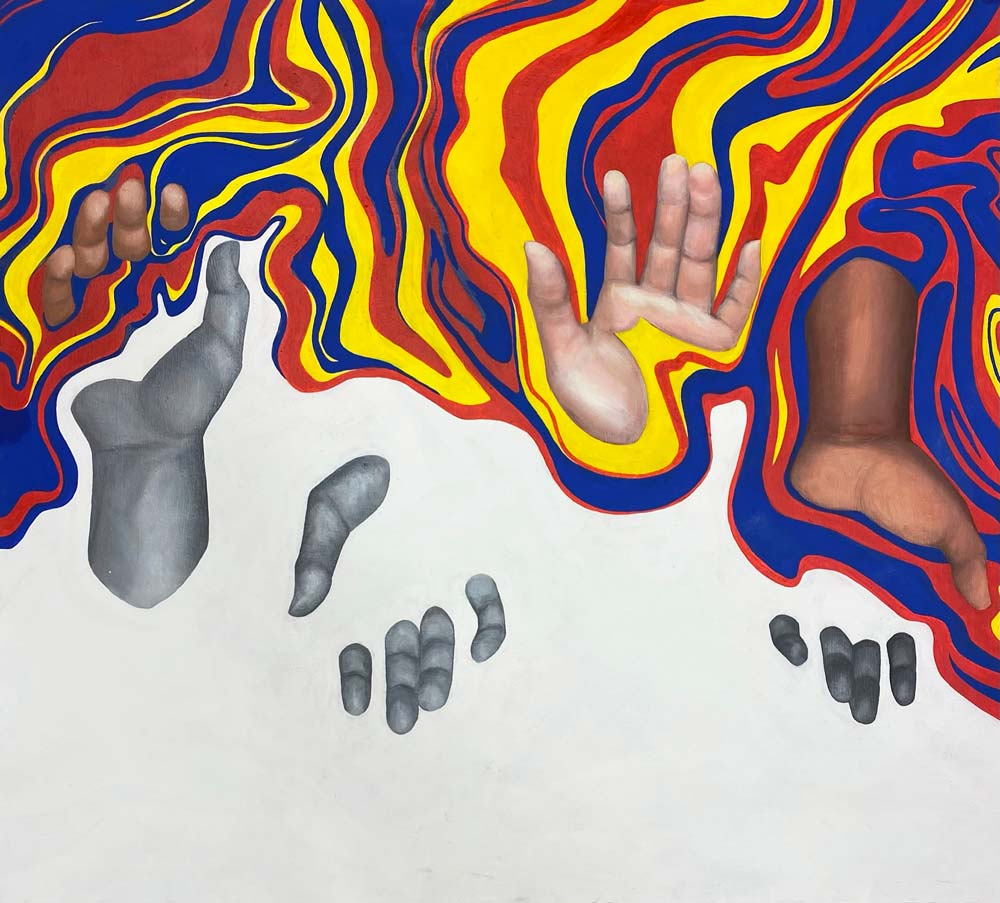 Four hands in a pattern of facing up then facing down with waves in primary colors dripping from the top