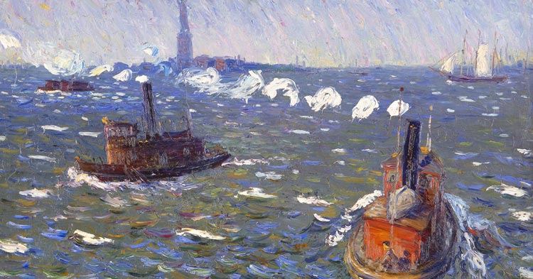 Artwork: William James Glackens, Breezy Day, Tugboats, New York Harbor